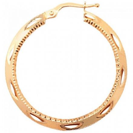 Just Gold Earrings -9Ct Dia Cut Hoop Earrings, ER657